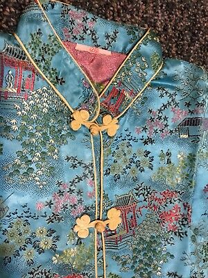 Vintage 60's Embroidered Asian Silk Children's Pajamas Set W/ Dragon Slippers!