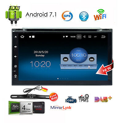 """Android 7.1 4G WIFI 7"""" Double 2DIN Car Radio Stereo Player GPS Navi BT DVD CD"""