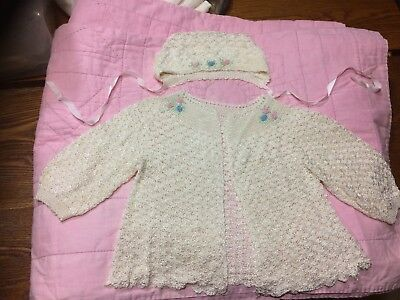 Beautiful Never Worn Vintage 1900 Hand Crochet Baby Girl Sweater And Cap