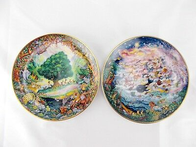 """FRANKLIN MINT Bill Bell """"Paradise"""" & """"In The Beginning"""" Home Decore Bible Plates"""