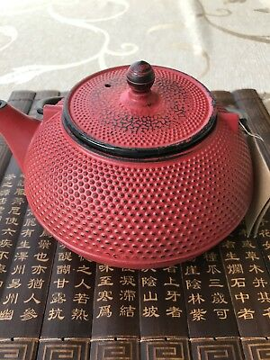 New Star Tetsubin Cast Iron Tea Kettle Red Teavana Type - read description