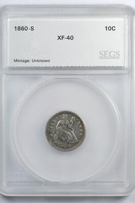1860-S Seated Liberty silver dime - 10c - SEGS XF40 - Difficult date!