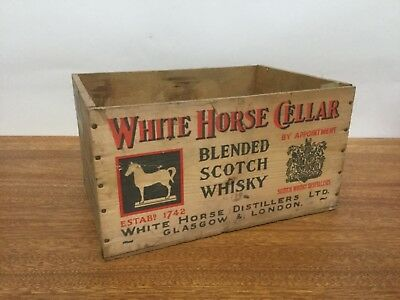 Primitive White Horse Cellar Blended Scotch Whisky Wooden Shipping Crate Box