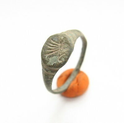 Ancient Old Medieval Bronze Ring With Swan Image (ARL01)