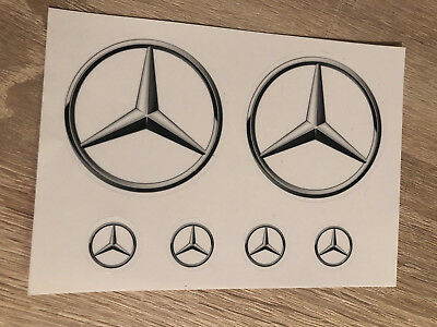 6 Mercedes Benz Aufkleber Stern Emblem transparent 2x 64mm 4 X 20mm