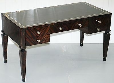 £13,500 Nina Campbell Donald Desk In Macassar Ebony Veneer & Black Leather Top