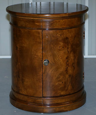 Stunning French Burr Walnut Side End Round Drum Table Mind Blowing Timber Patina