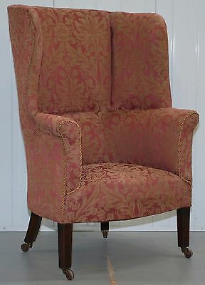 Rare Circa 1830 Chesterfield Porters Chair Mahogany Framed Wingback Rare Find