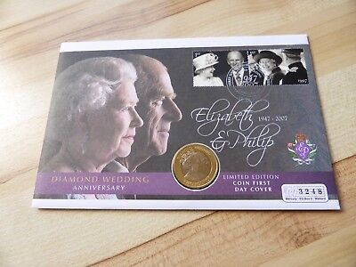 Gibraltar 2 Pound Bimetallic coin 2007 Elizabeth + Philip Diamond Wedding + FDC