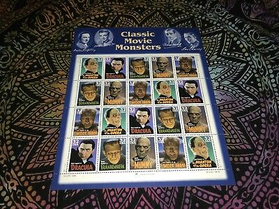 """""""MNH""""  #3168-72 Sheet 32C 1997 Classic Movie Monsters Postage Stamps"""