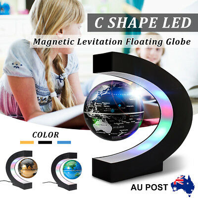 C shape LED Magnetic Globe Levitation Floating World Map Lighting Decor Gift AU