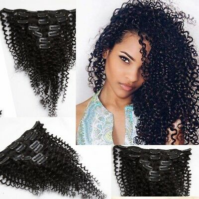 7pcs Brazilian's Full Head Kinky Curly Clip in 100% Human Hair Extensions 70G