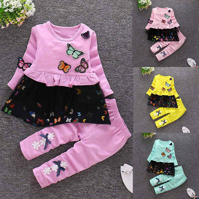 2PCS Lively Toddler Kids Baby Girl Fall Suit T-shirt Tops Dress+Long Pants Set