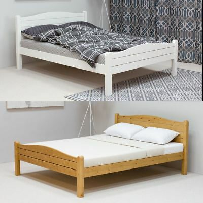 Elwood Wood Bed Pine and White Single, Double or King with 4 Mattress Options