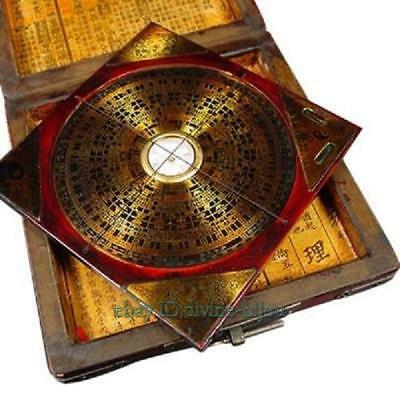 Collectibles brass ''Feng shui'' compass with wooden dragon phoenix box