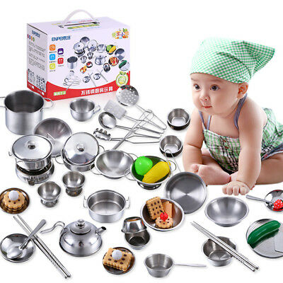 Pretend Kitchen Play Set for Kids 25Pcs Stainless Steel Cooking Bake Food Toys