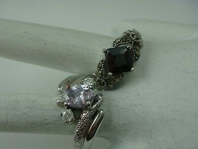 Vintage 1980's Silver Tone Faux Amethyst Marcasite Pair Size 10 Rings