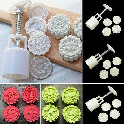 5pcs Mooncake Mold Press 50g 4 Stamps Flower Round Shape Plunger kit
