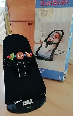 Baby Bjorn Bouncer Chair And Toy Bar ~ Black / Silver