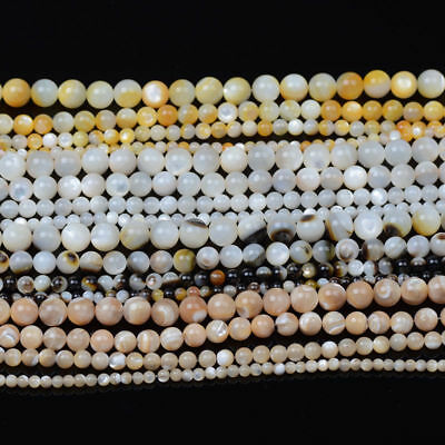 Natural Gemstone Mother of Pearl Shell Round Bracelet Spacer Loose Beads 4/6/8MM