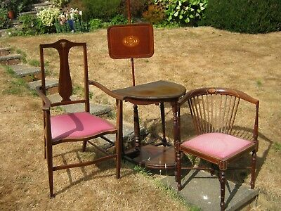 Edwardian Set in Mahogany: Armchair, Corner Chair, Shield Shaped Table & Screen