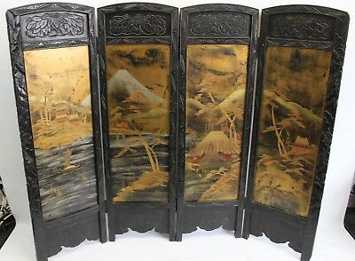 Beautiful Antique Hand Carved Japanese Folding Fire Screen (Hospiscare)