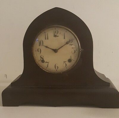 Antique 19th C. GILBERT Gothic Cathedral Mahogany Mantel Shelf Clock