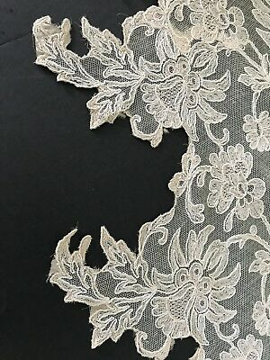Antique 1920 French Calais Lace Pre Used Floral Rosy Beige