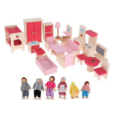 Dollhouse Miniature Wooden Furniture Set Kids Pretend Play Toys with 6 Dolls