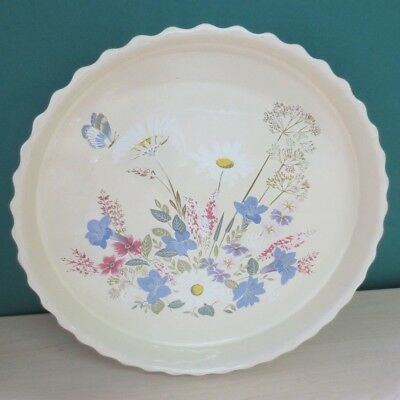 """Poole pottery Springtime 12"""" Flan Dish Fluted Edged Large Quiche Dish"""