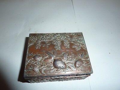 Japanese Bronzed Metal 7.5Cm By 6Cm Lidded Box With Koi/gold Fish & Bamboo Sides