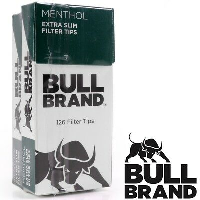 MENTHOL ULTRA SLIM FILTER TIPS Cigarette Roll Rolling Tobacco Roach BULL BRAND