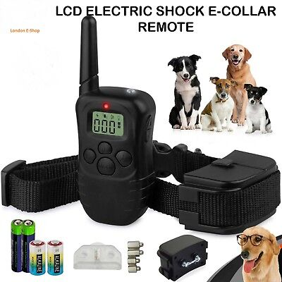 Electric Shock E-Collar Remote Control New LCD Dog Training Anti-Bark + Battery