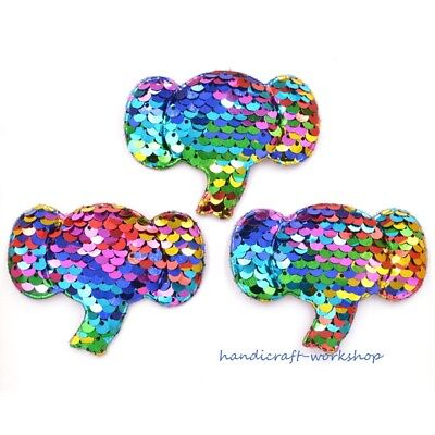 72MM Glitter Elephant 8Pcs Pads Appliques with Sequins Embroider Crafts Patches