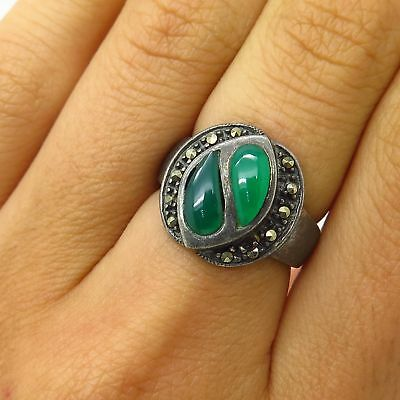 Vtg 925 Sterling Silver Real Marcasite & Green Chalcedony Gem Ring Size 5.5