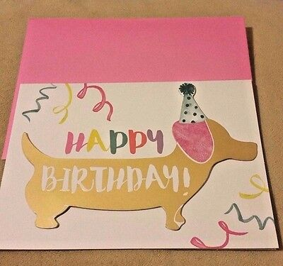 "Colorful! Happy Birthday Card ""Enjoy your day!"" 3-D Shiny Gold Dachshund Dog"