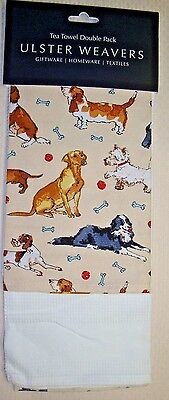 Set of 2 Kitchen Tea Towels Dachshund Basset Hound Scottie Westie Terrier Dogs