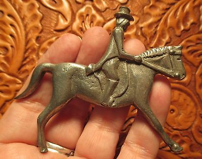 PEWTER Horse & Rider Brooch Pin Antique AXCESS ENGLISH Great Britain