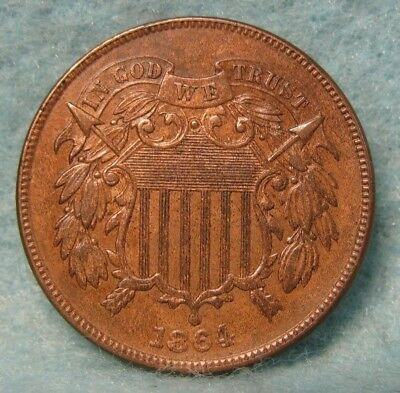 1864 Civil War Era Two Cent Piece CHOICE Almost Uncirculated * US Coin