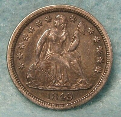 1849 Seated Liberty Silver Dime SHARP Almost Uncirculated+ Details * US Coin *