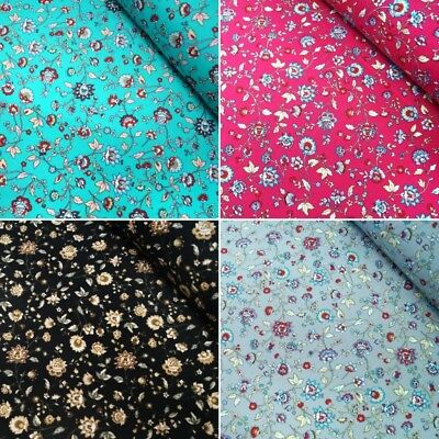 100% Cotton Poplin Fabric Rose & Hubble Funky Floral Flowers & Stems