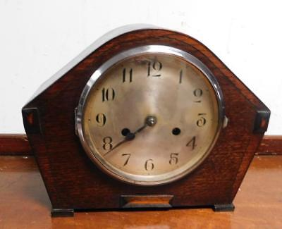 oak cased striking mantel clock by enfield