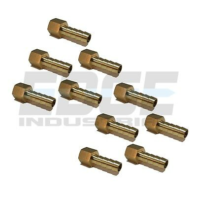 (10 Pack) 5/16 HOSE BARB X 1/4 FEMALE NPT Brass Pipe Fitting Gas Fuel Water Air