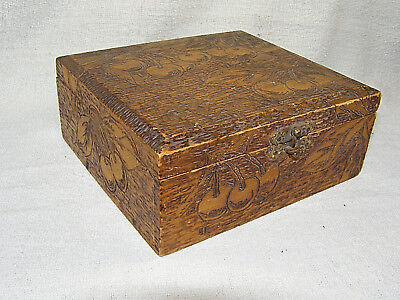 Vintage Flemish Art Pyrography / Folk Art Burnt Wood CHERRIES Lined Box