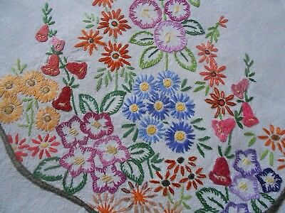 Beautiful Very Good Quality Vintage Hand Embroidered Tablecloth