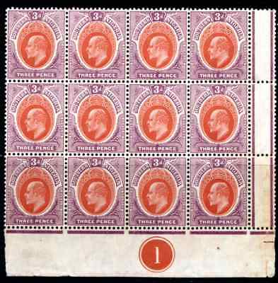 SOUTHERN NIGERIA  KEVII  3d  *** SUPERB M N H *** PLATE BLOCK