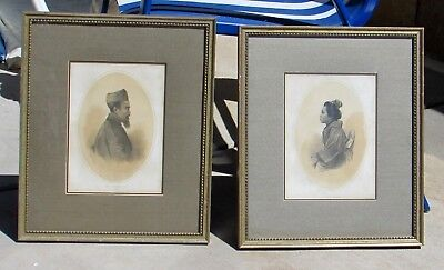 Vintage Pair of Asian Lithographs, Chinese Man, Japanese Woman, P.S. Duval & Co