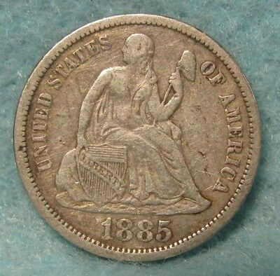 1885 Seated Liberty Silver Dime VF * US Coin *