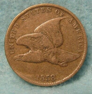 1858 SL Flying Eagle Penny FINE * US Coin *