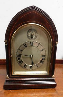winterhalder & hoffmeir mahogany line inlaid westminster bracket clock on gongs